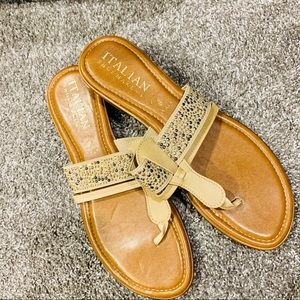 {ITALIAN SHOEMAKERS} Tan Studded Sandals
